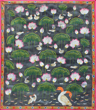 kamal Talai by Unknown Artist, Folk Painting, Stone Colour on Cloth, Green color