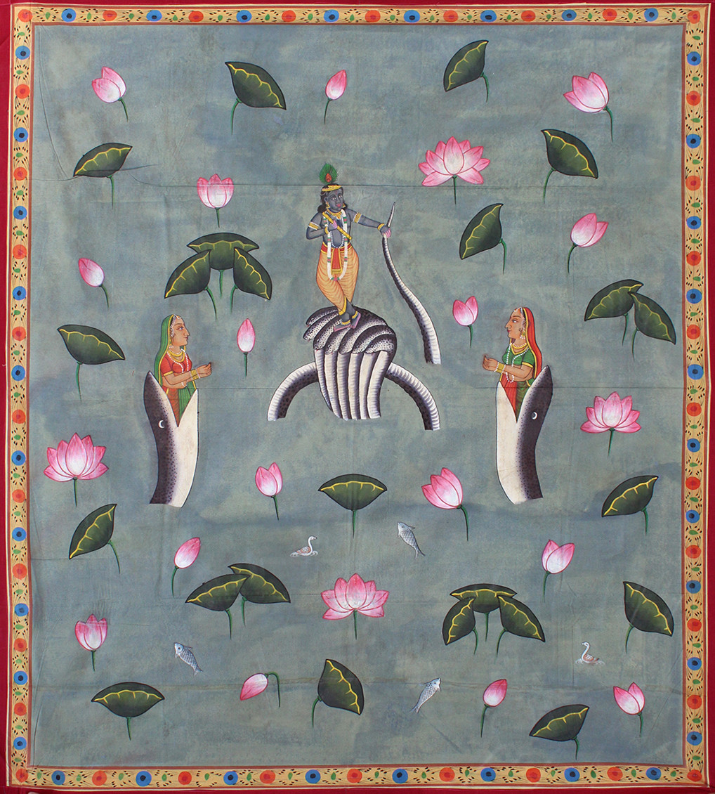 Sheshnaag Kamal Talai by Unknown Artist, Folk Painting, Stone Colour on Cloth, Gray color