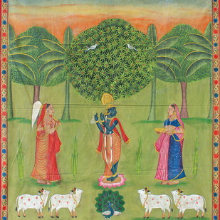 Krishna Leela by Unknown Artist, Folk Painting, Stone Colour on Cloth, Beige color