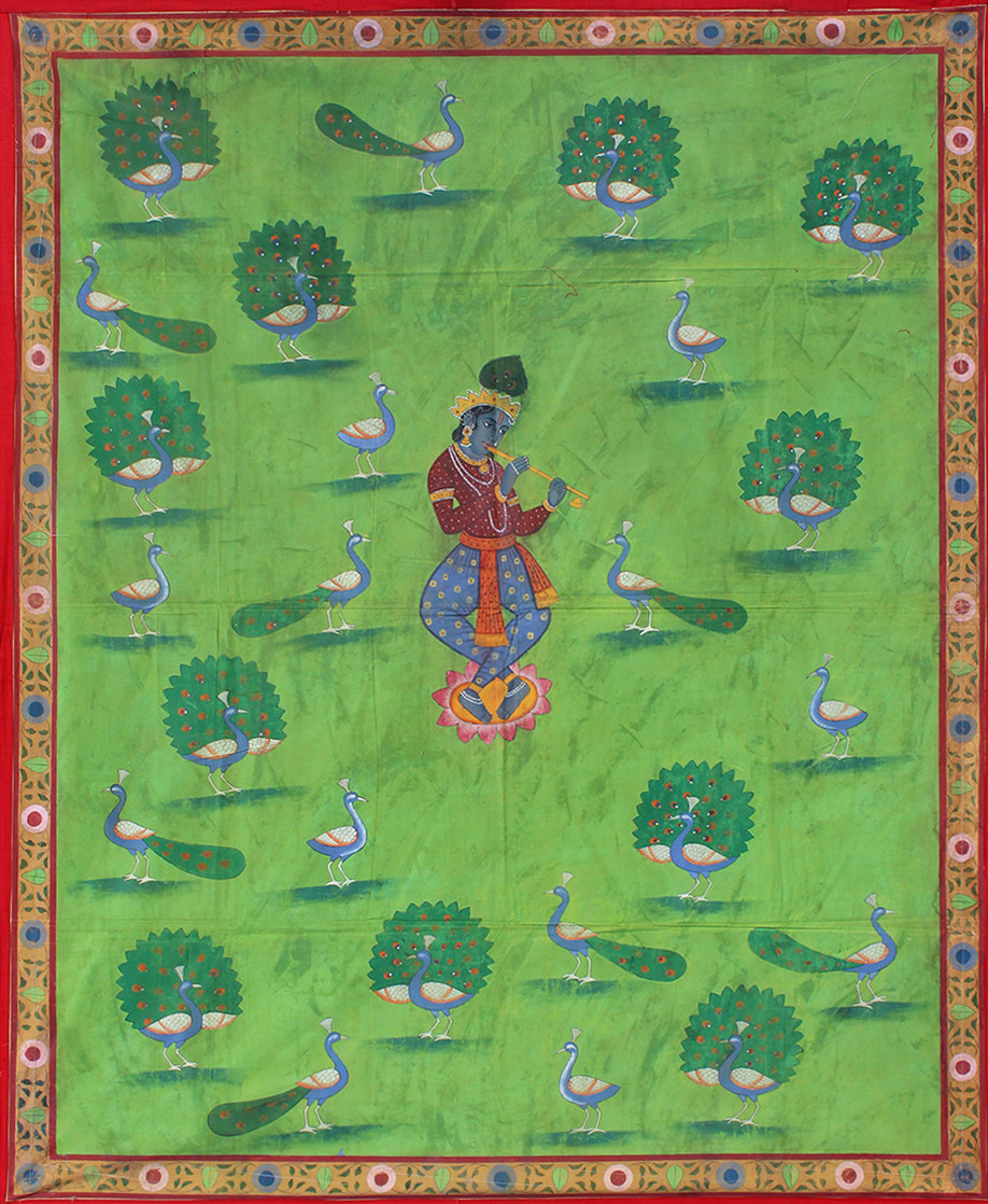 Morakuti by Unknown Artist, Folk Painting, Stone Colour on Cloth, Green color