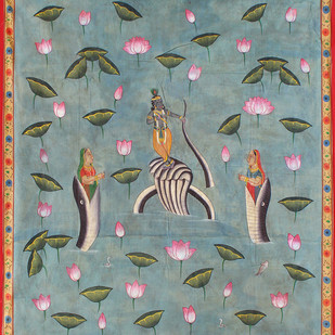 Sheshnaag Kamal Talai by Unknown Artist, Folk Painting, Stone Colour on Cloth, Green color