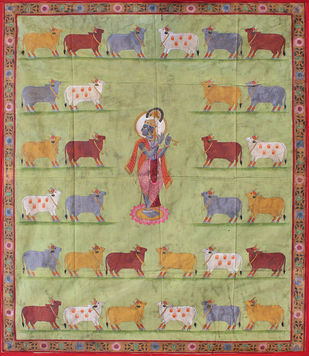 Gopashtami by Unknown Artist, Folk Painting, Stone Colour on Cloth, Beige color