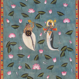 Matsya krida by Unknown Artist, Expressionism Painting, Stone Colour on Cloth, Green color