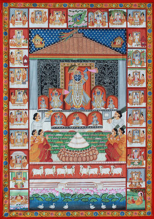 Rajabhoga by Unknown Artist, Folk Painting, Stone Colour on Cloth, Brown color