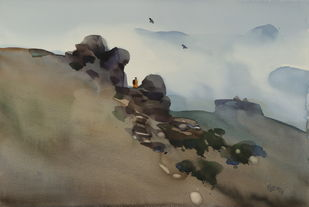 In IT's search by Prashant Prabhu, Impressionism Painting, Watercolor on Paper, Brown color