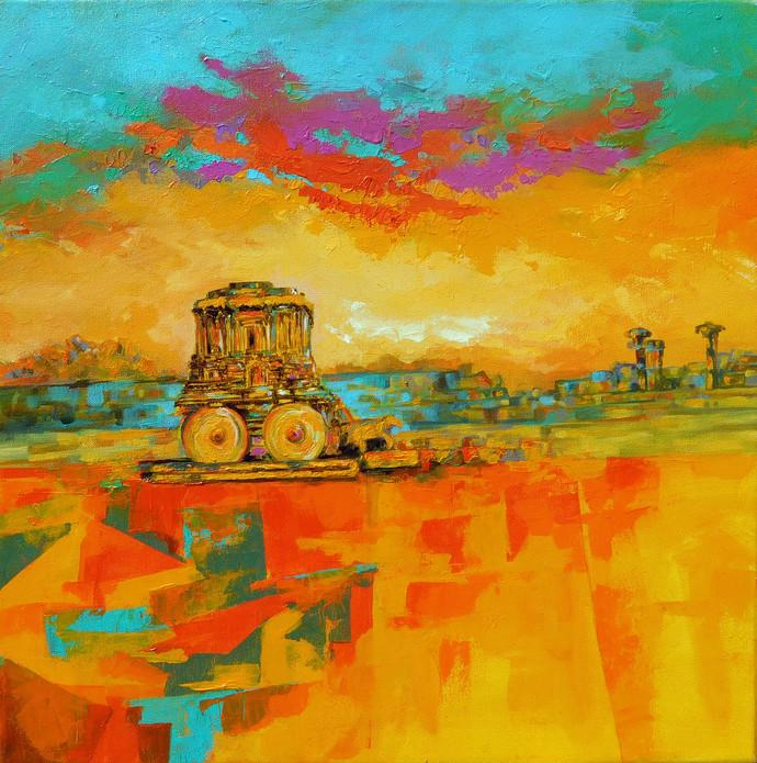 hampi landscape by Ganesh Badiger, Expressionism Painting, Acrylic on Canvas, Orange color