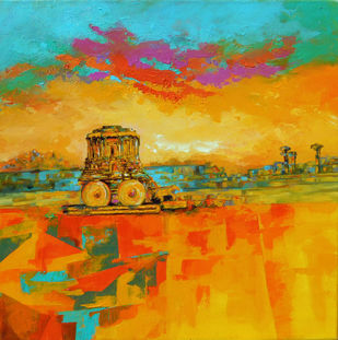 hampi landscape by Ganesh Badiger, Expressionism Painting, Acrylic on Canvas, Orange color