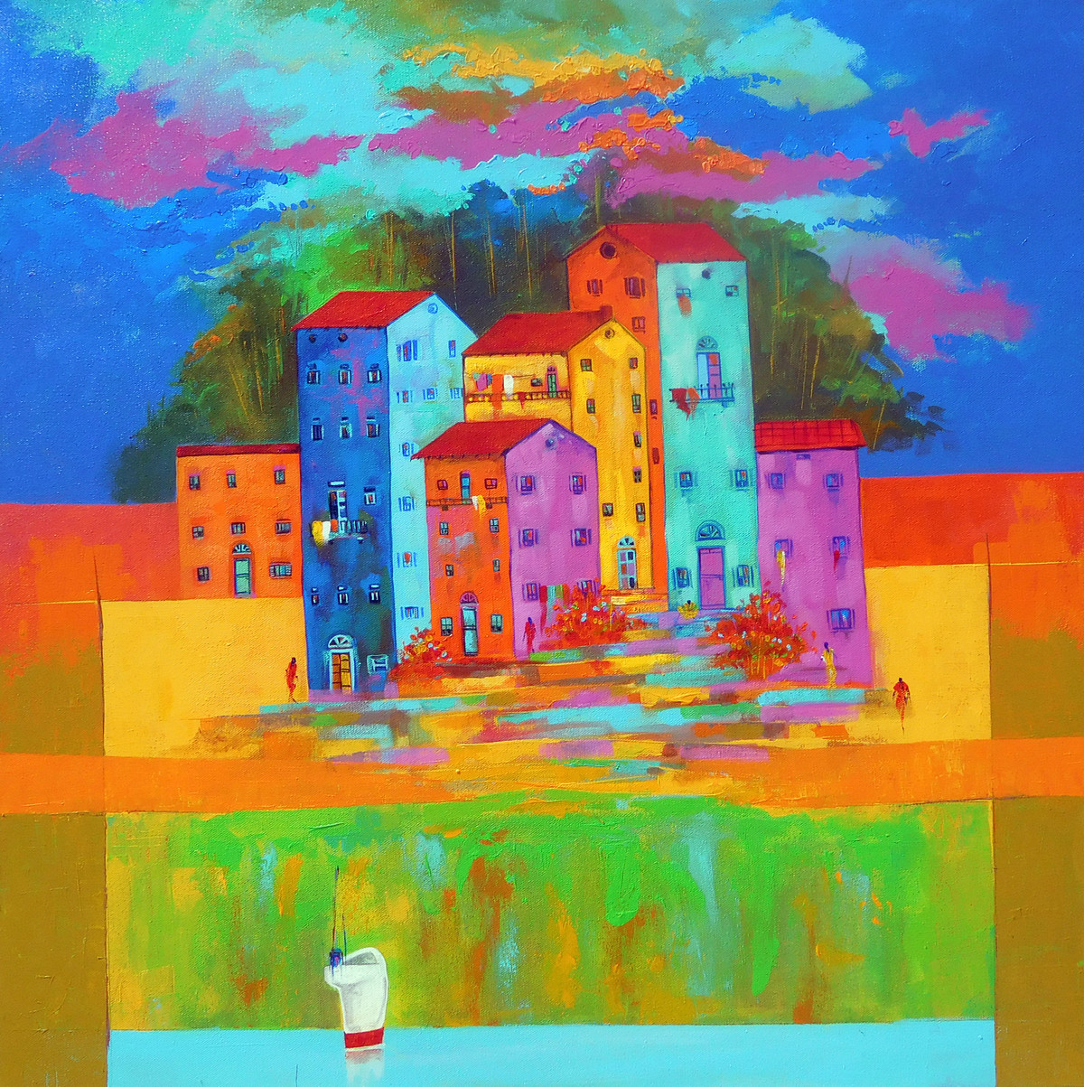 Venice City by Ganesh Badiger, Expressionism Painting, Acrylic on Canvas, Green color