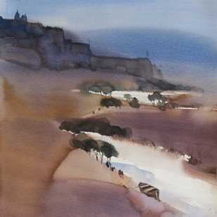 Dreaming a new landscape 2 _55 x 50 cm by Prashant Prabhu, Abstract Painting, Watercolor on Paper, Brown color