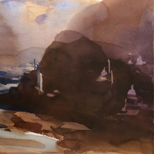 Flagposts of the unknown 55 x 35 cm by Prashant Prabhu, Abstract Painting, Watercolor on Paper, Brown color