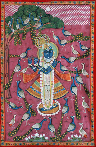 Morakuti by Unknown Artist, Folk Painting, Stone Colour on Cloth, Brown color