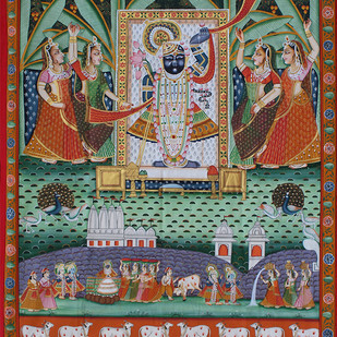 Sharad Purnima by Unknown Artist, Folk Painting, Stone Colour on Cloth, Brown color