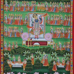 Krishna Leela by Unknown Artist, Folk Painting, Stone Colour on Cloth, Green color