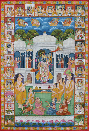Shrinathji at Nathdwara by Unknown Artist, Folk Painting, Stone Colour on Cloth, Brown color