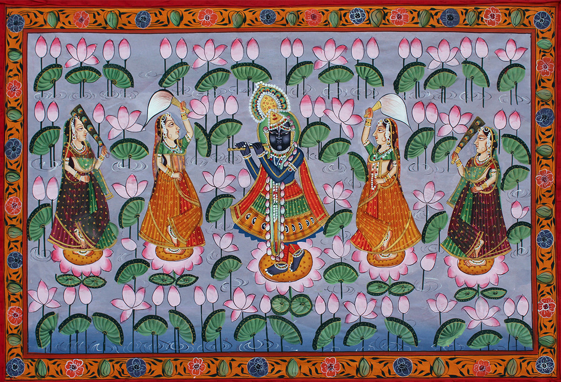 Krishna Jal Krida by Unknown Artist, Folk Painting, Stone Colour on Cloth, Brown color