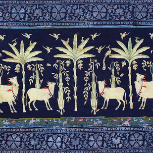 Vrikshachari by Unknown Artist, Folk Painting, Stone Colour on Cloth, Blue color