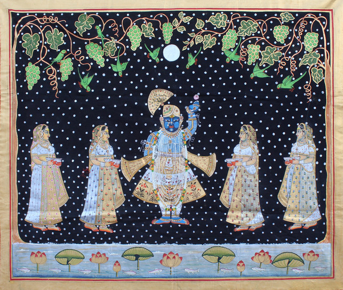 Sharad Purnima by Unknown Artist, Folk Painting, Stone Colour on Cloth, Gray color