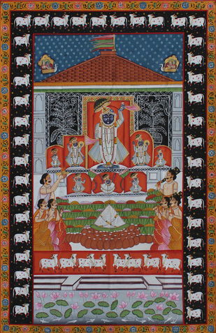 Chappan Bhog by Unknown Artist, Folk Painting, Stone Colour on Cloth, Brown color