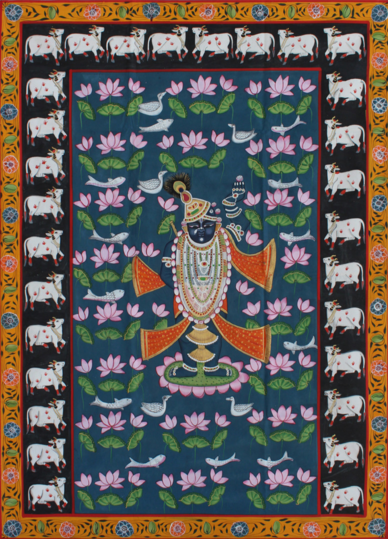 Kamal Taalai by Unknown Artist, Folk Painting, Stone Colour on Cloth, Brown color