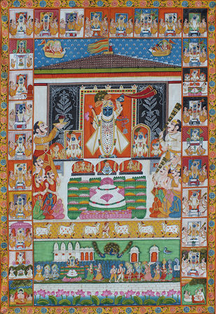 Rajbhog by Unknown Artist, Folk Painting, Stone Colour on Cloth, Brown color