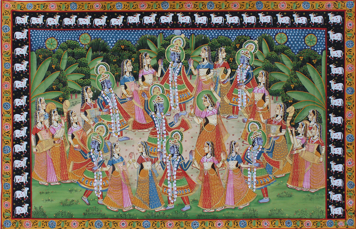 Raas Leela by Unknown Artist, Folk Painting, Stone Colour on Cloth, Brown color