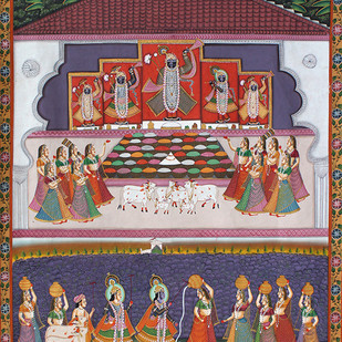 Govardhan Puja by Unknown Artist, Folk Painting, Stone Colour on Cloth, Brown color