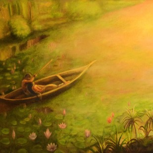 TOWARDS LIGHT by R Sukumaran, Expressionism Painting, Oil on Canvas, Brown color