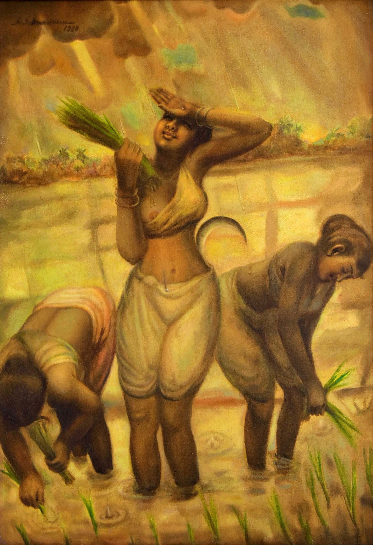 FIRST DROP by R Sukumaran, Traditional Painting, Oil on Canvas, Brown color