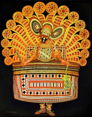 THEYYAM- 1 (KERALA SHAMAN-1) by R Sukumaran, Traditional Painting, Oil on Canvas, Brown color
