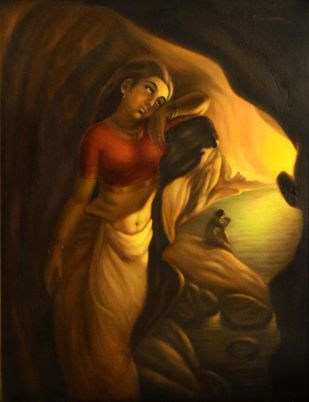 RAGASANDHYA by R Sukumaran, Traditional Painting, Oil on Canvas, Brown color