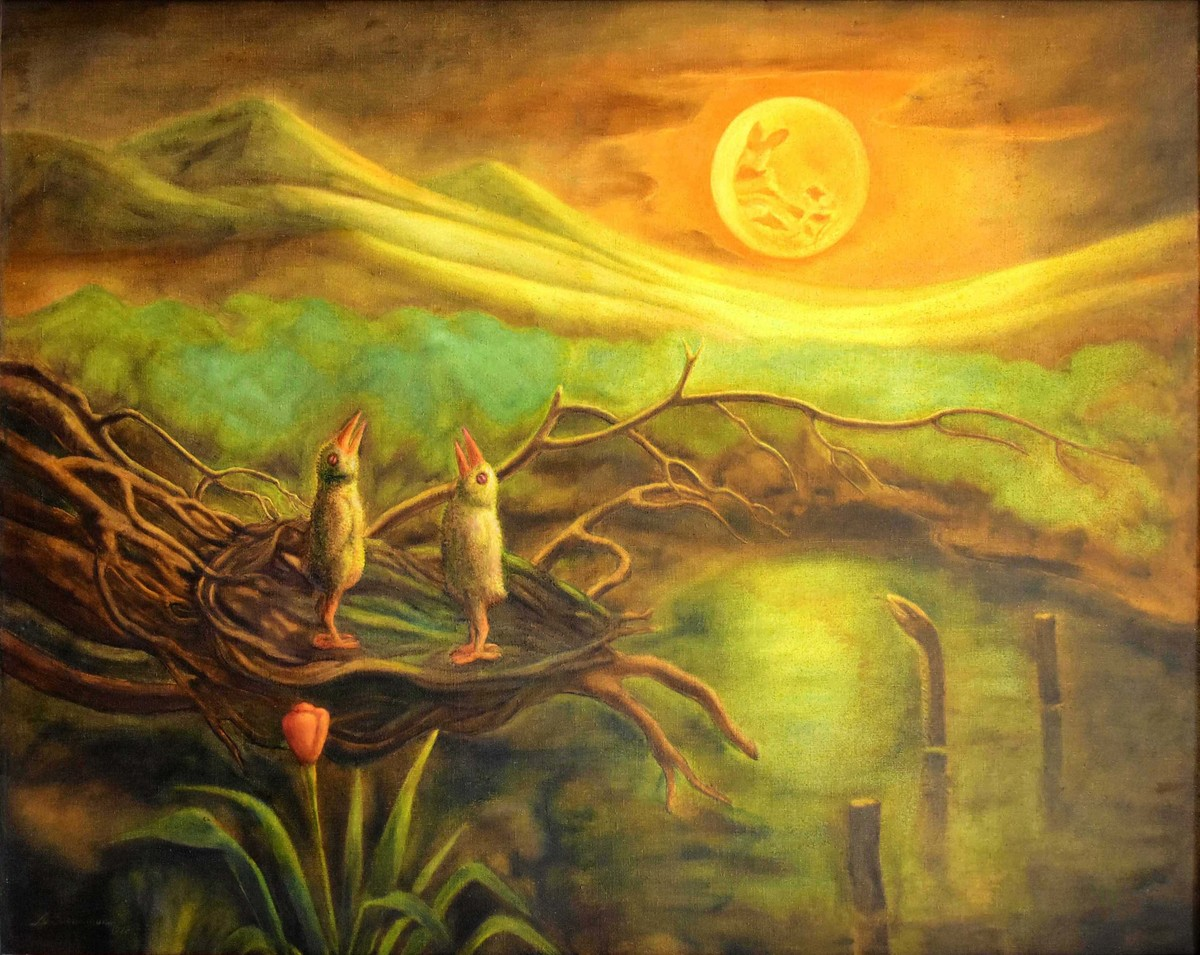 URAGAPPORUL (Serpent Substance) by R Sukumaran, Traditional Painting, Oil on Canvas, Brown color