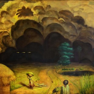 ASHATAM by R Sukumaran, Traditional Painting, Oil on Canvas, Brown color