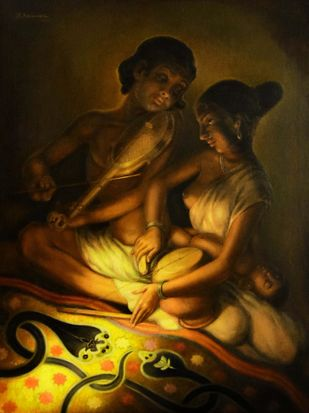 AYILYAM (Snake Worship) by R Sukumaran, Expressionism Painting, Oil on Canvas, Brown color