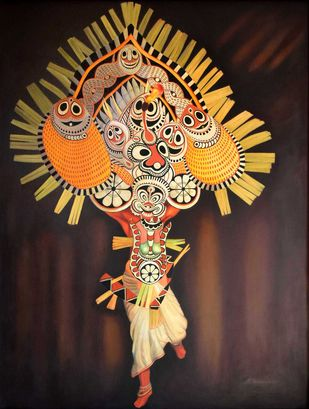 THEYYAM -2 (KERALA SHAMAN-2) by R Sukumaran, Expressionism Painting, Oil on Canvas, Brown color