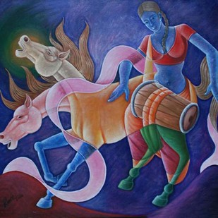 Untitled by Ram Rokade, Expressionism Painting, Acrylic on Canvas, Blue color