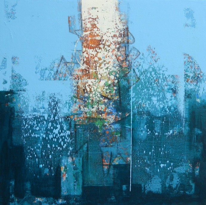 untitled by Stalin P J, Abstract Painting, Acrylic on Canvas, Cyan color