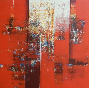 untitled by Stalin P J, Abstract Painting, Acrylic on Canvas, Red color