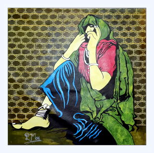 Rajesthani art by PARESH MORE, Expressionism Painting, Acrylic on Canvas, Green color