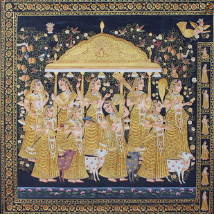 Melodic Gopies by Unknown Artist, Folk Painting, Stone Colour on Cloth, Brown color