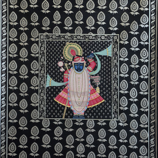 Shrinath Ji by Unknown Artist, Folk Painting, Stone Colour on Cloth, Gray color