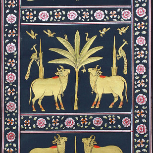 Morakuti With Cows by Unknown Artist, Folk Painting, Stone Colour on Cloth, Brown color