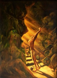 ENLIGHTENMENT by R Sukumaran, Impressionism Painting, Oil on Canvas, Brown color