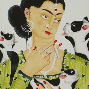 Kali-Kahlo 5 by Bhaskar Chitrakar, Folk Painting, Natural colours on paper, Beige color