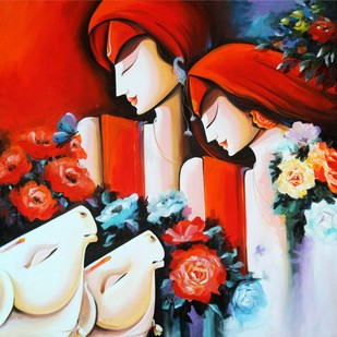 Peaceful Love by pradeesh k raman, Decorative Painting, Acrylic on Canvas, Brown color