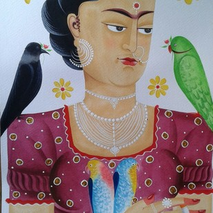 Kali-Kahlo 6 by Bhaskar Chitrakar, Folk Painting, Natural colours on paper, Brown color
