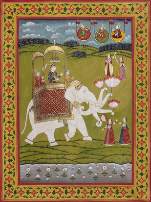 Royal Roaming by Unknown Artist, Folk Painting, Stone Colour on Cloth, Brown color