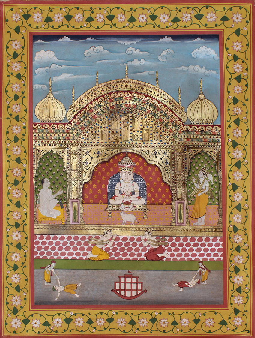 Mahaveerswami by Unknown Artist, Folk Painting, Stone Colour on Cloth, Brown color