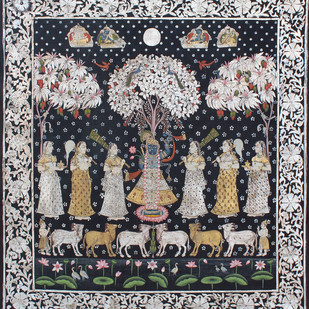 Vrikshachari by Unknown Artist, Folk Painting, Stone Colour on Cloth, Gray color