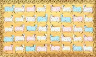Cows by Unknown Artist, Folk Painting, Stone Colour on Cloth,