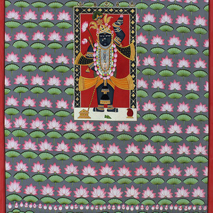 kamal Talai With Shrinath ji by Unknown Artist, Folk Painting, Stone Colour on Cloth, Brown color